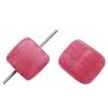 Glass Pressed Beads 8X10mm Cubes Fuchsia Matt
